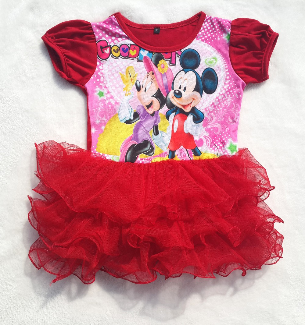 New 2015 summer cartoon Baby Dress Minnie Mouse Red Dress Casual Party Girl Dress Ball Gown tutu children dress girls clothing(China (Mainland))