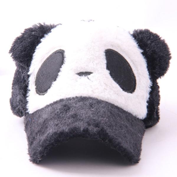 Hair Accessories Baby Kids Girls Boys Caps Panda Cap Pattern Plush Flat Visor Baseball Hats 4 Colors(China (Mainland))