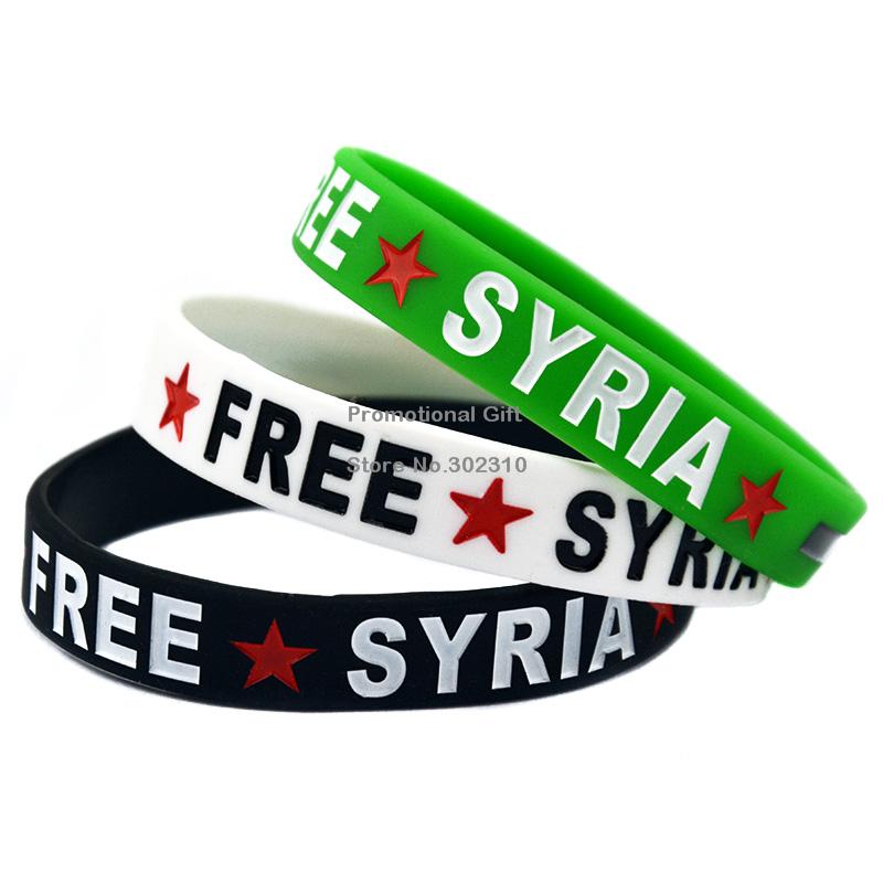 Wholesale 100PCS/Lot Free Syria Debossed Silicone Wristband Bracelet Adult and Youth Sizes Available(China (Mainland))