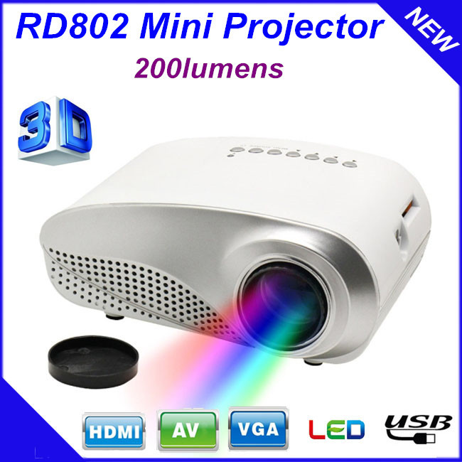 200lumens 3d beamer led electric zoom portable video pico for Micro mini projector