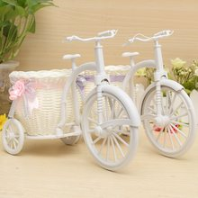 Hot Sale Rattan Tricycle Bike Flower Basket Vase Storage Garden Wedding Party Decoration Office Bedroom Holding Candy Gift(China (Mainland))
