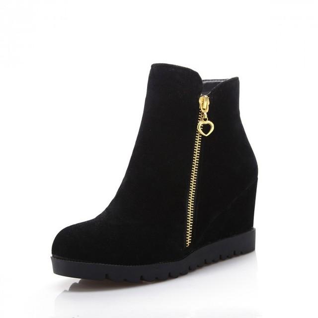 2015 Модные ботинки женщин обувь клинья туфли на высоких каблуках женщины за осень ...