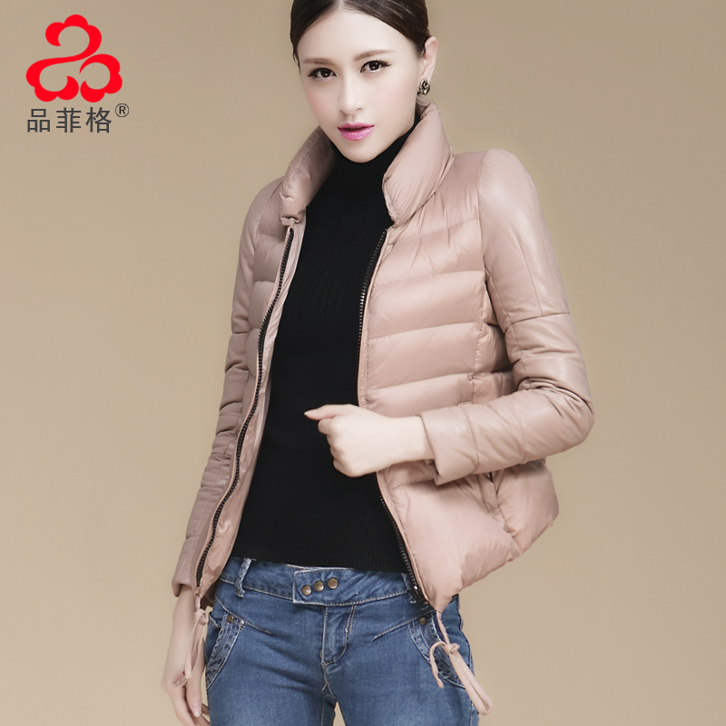 Light weight genuine leather sheepskin patchwork thin goose down coat female short down jacket Black Khaki(China (Mainland))