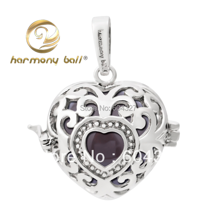 Hot Sale 20mm Love Heart 925 Sterling Silver Harmony Ball, Mexican Bola For Pregnant Woman CYLZ0042(4)(China (Mainland))