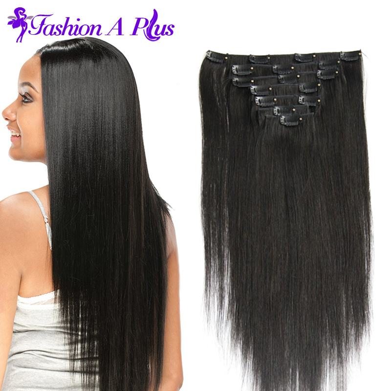 6A Brazilian Virgin Hair 16-24 Clip In Hair Extensions 7pcs Clip In Human Hair Extension Brazilian Hair Weave Bundles<br><br>Aliexpress