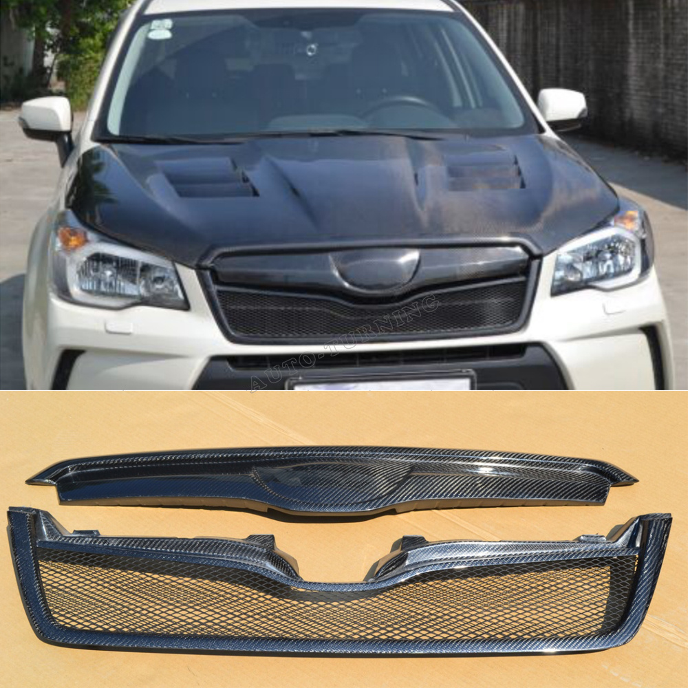 car styling carbon fiber front grill grille for Subaru forester 2013-2015(China (Mainland))