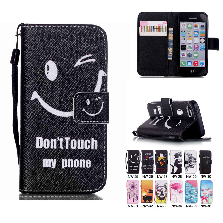 Luxury Painting PU Leather Case For iPhone 5C Fashion Flip Wallet Stand Leather Cover Handbag With Hand Strap Cell Phone Cases(China (Mainland))