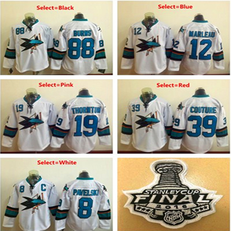 Mens Brent Burns Logan Couture Joe Thornton Joe Pavelski Patrick Marleau 2016 Stanley Cup Final Patch Stitched Hockey Jersey(China (Mainland))