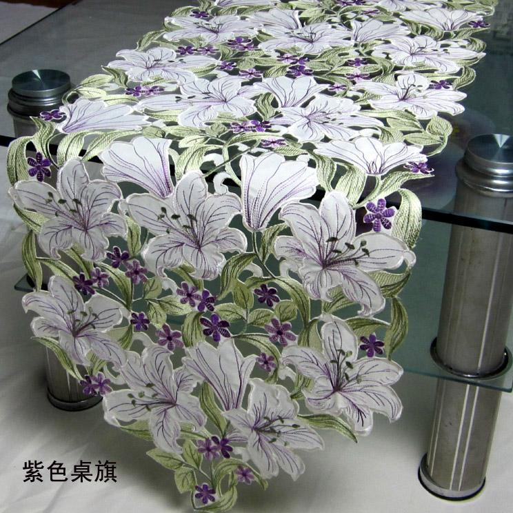 2015 Fashion and new Polyester satin purple lily cutout table linens/emboridery tablecloths(China (Mainland))