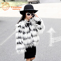 Fringed Faux Fox Fur Children Jacket For Girls Europe America Style Girls Winter Coat 2016 New