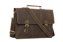 High Quality 100% Leather Laptop Bag Leather Briefcase Messenger Bag Men's Handbag Crazy Horse Leather 7035W(China (Mainland))