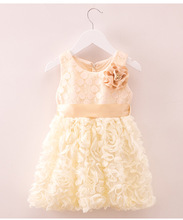 High End Children Princess Girls Party Dress Lace Flower Champagne Color Europe Girls Formal Dress Children Clothing