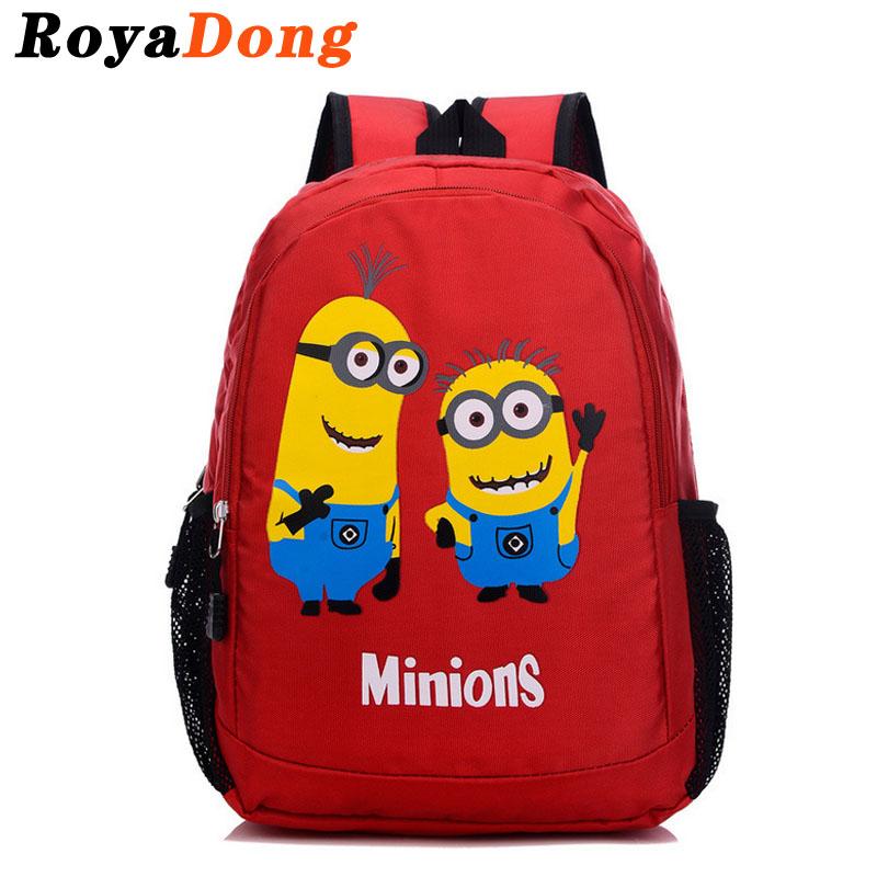 Printing Backpack School Bags For Teenage Girls Boys Kids Bag Nylon Candy Color Minions Cartoon 2016 Mochila Satchel Sac A Dos(China (Mainland))