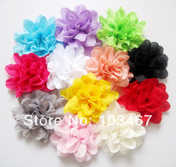 EMS free shipping 5'' 600pcs/lot Assorted Colours SilkLayered Flowers,Tulle Puff Flower Flowers,Hair Accessories