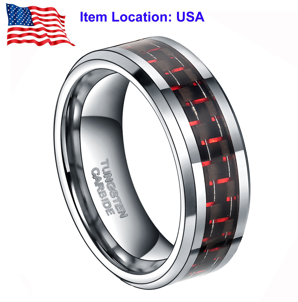 Tungsten Black And Red Ring