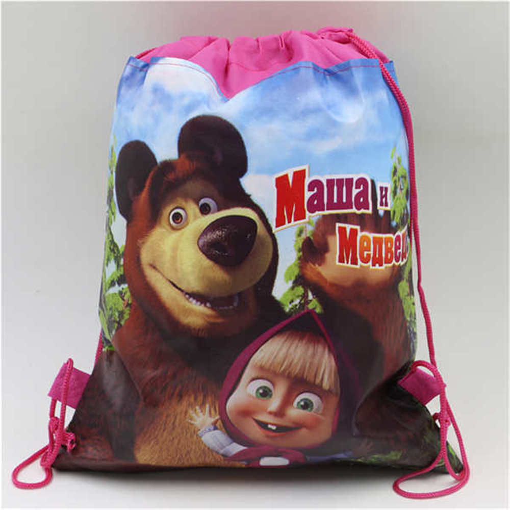 masha and bear drawstring/cloth bag non-woven fabric backpack party supplies&decor child favor school bag decoration(China (Mainland))
