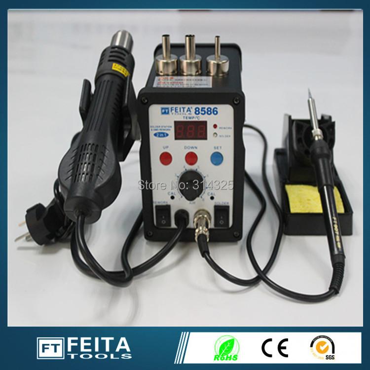 FEITA FT8586 FEITA FT8586 Rework Desoldering Station Solder Iron with Heat Hot air Gun ESD Tips BGA Hot Air Nozzles(China (Mainland))