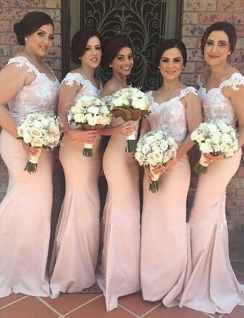 peach and silver bridesmaid dresses