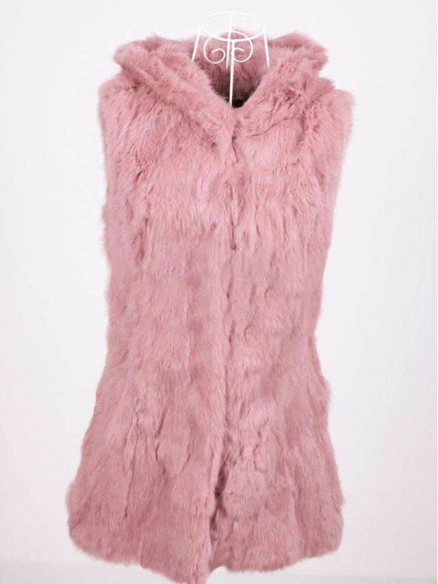leather coat 2014 hooded rabbit real  fur vest fox real  fur tan vest medium-long slim rabbit real  fur leather coat