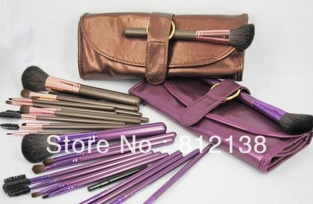 Free shipping  high quality  goat hair Make up Brush 13PCS  Set  With  pouch, purple and brown for choice, M13P2C