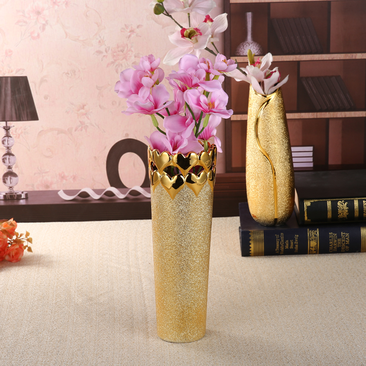 European Ceramic Golden Vase Crafts Plating Decoration Simple Modern