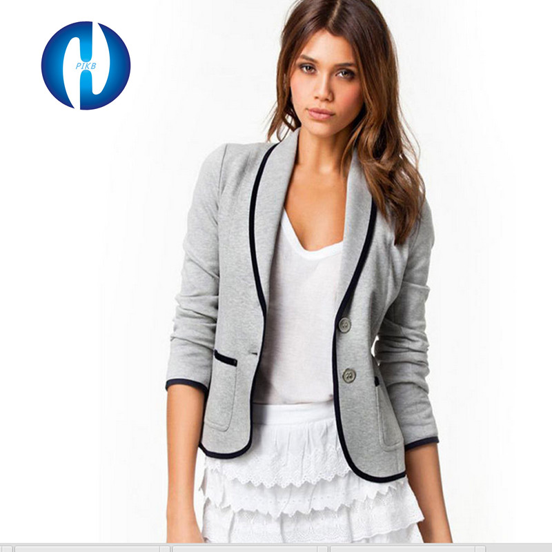 New arrival PIKB 2015 fashion women's all-match plus size black white long-sleeve blazers jacket suit casual outerwear(China (Mainland))