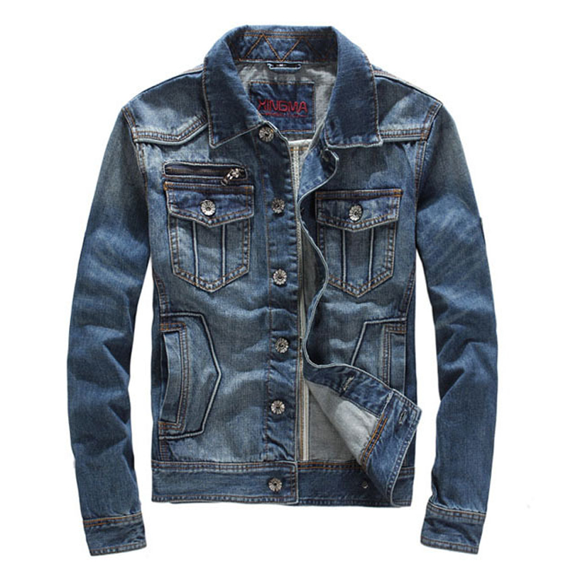 Mens casual zipper patch denim jacket Male fashion pocket vintage plus size top outerwear Free shippingÎäåæäà è àêñåññóàðû<br><br>