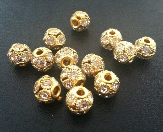 2013 New  Fashion able 10mm Gold Large Hole Rhinestone Crystal Brass Beads 50pcs/lot Free Shipping<br><br>Aliexpress