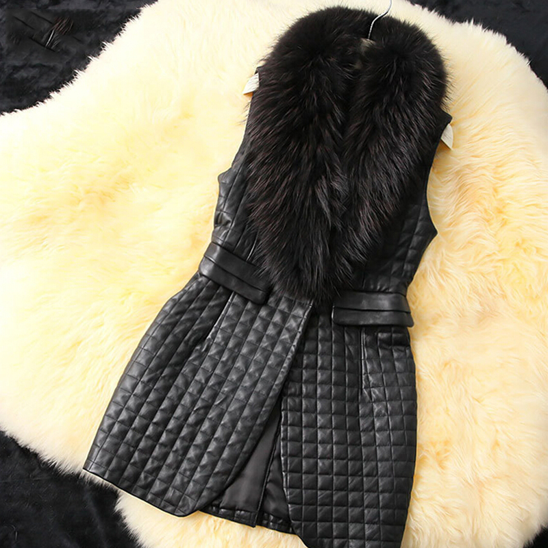 imitation raccoon fur collar and long sections of black imitation leather waistcoat sheep Piga cotton grass Vest(China (Mainland))