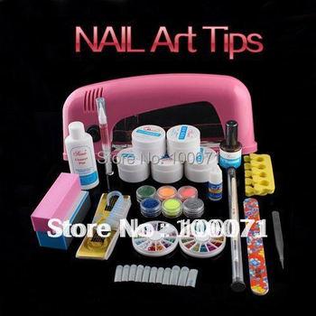 Hot Sale  Full 9W UV Gel Lamp Dryer Nail Art Care Acrylic Powder Tips Glitter Polish Set Kit #6  Free Shipping# 11471