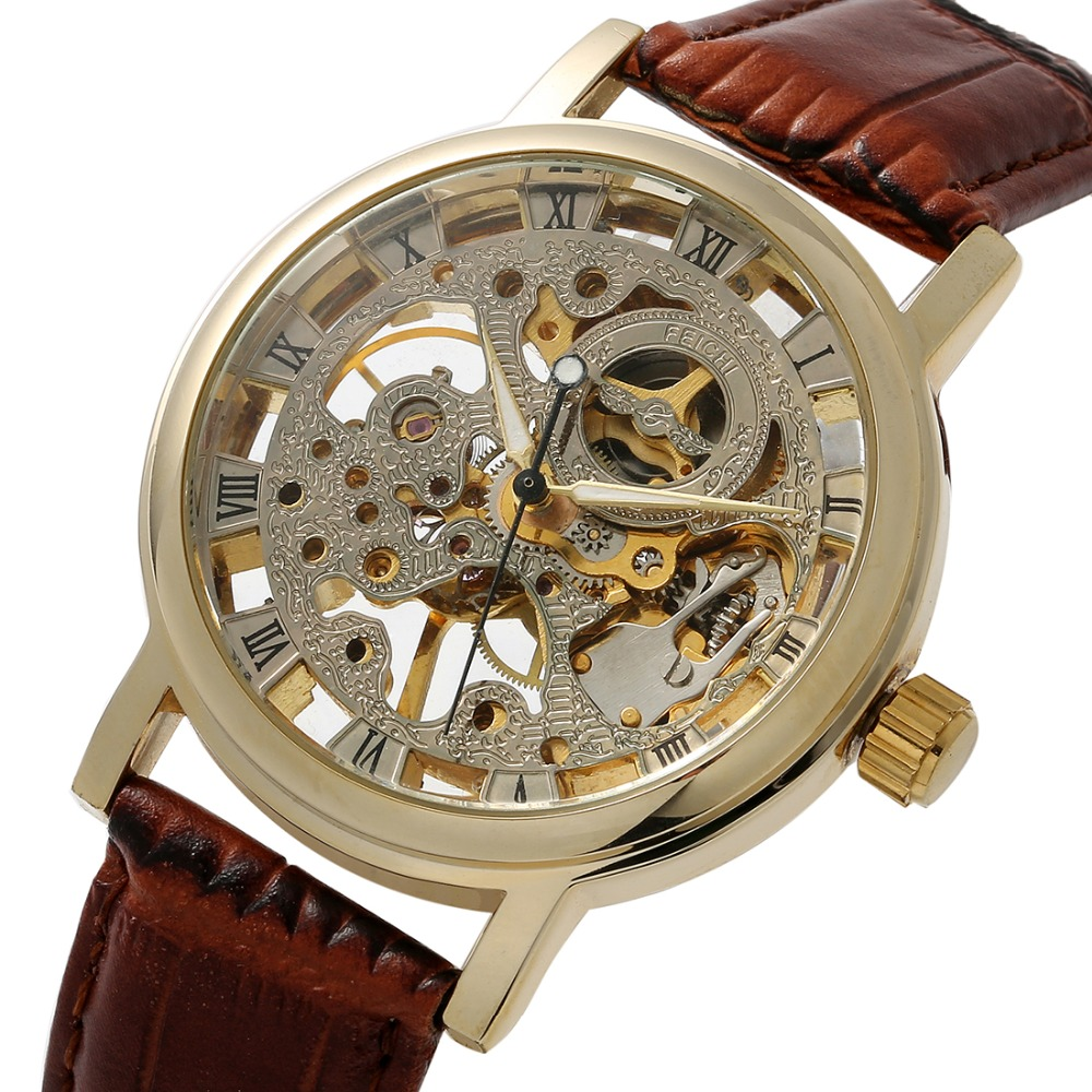 best skeleton watches promotion shop for promotional best skeleton luxury brand men skeleton watches stainless steel mechanical skeleton leather strap self wind watch military watches