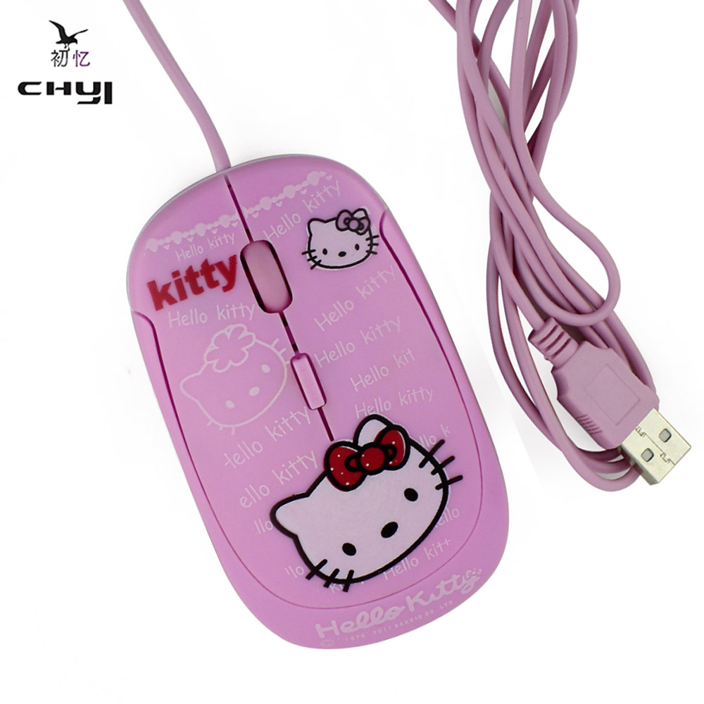 CHIY Hello kitty Hellokitty Nano Wired Mouse the Pink Cute Mouse PC Mause With 1600 DPI Adjustable Function For Girls Women(China (Mainland))