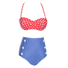 Hot Sale Bikini Women Fashion High-Waist Girl Dot Retro Jean Bottoms Sexy Tankini Bathing Suit Bikinis Set Swimwear Swimsuit