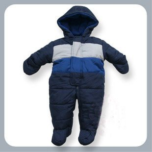 Get baby ready for winter with these baby snowsuits, jackets, mittens, hats, booties, rompers and more.