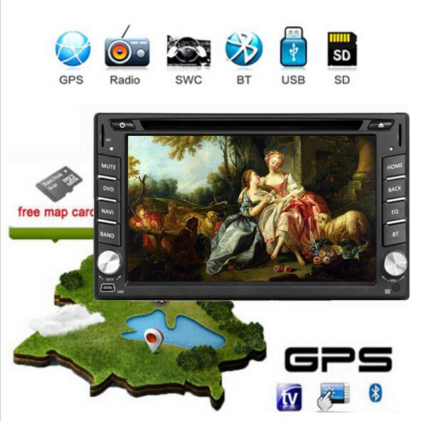 "Free Shipping +New Universal Car GPS Navigation DVD Player Radio Bluetooth TV 3G Video Audio 6.2 ""Double 2 Din Car DVD Player(China (Mainland))"