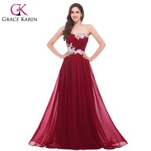 Grace Karin Long Bridesmaid Dresses 2016 Beading Sequins Floor Length Sweetheart Green Red Pink Blue Robe De Soiree Prom Dress(China (Mainland))