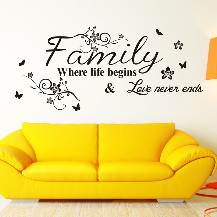 Гаджет  English Word Family living room sofa wall decals home decoration wallpaper painting Removable Wall Sticker home decor PVC None Дом и Сад