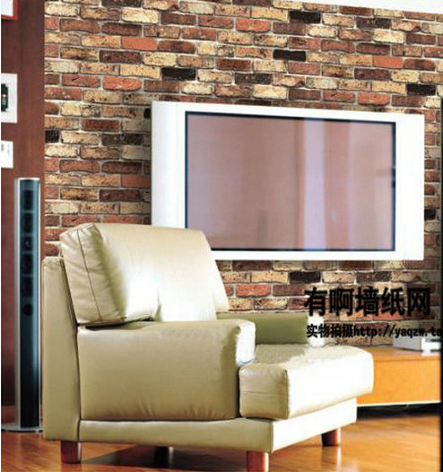 Chinese style red brick wall wallpaper for living room for Red wallpaper designs for living room
