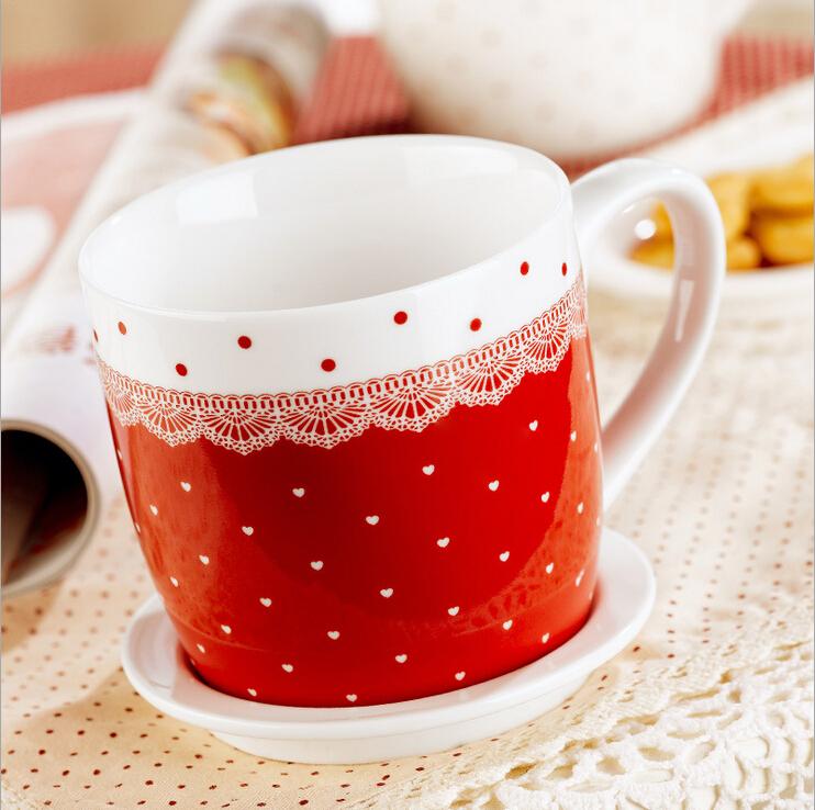 2pcs Lot Ceramic Heart Shaped Mugs Coffee Tea Milk Cup