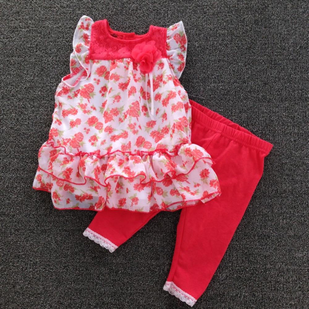 Original brand,10set/lot 1-6yrs nannette Baby Girls dress &amp; Legging Set, sleeveless chiffon dress and pants,girls clothes set<br><br>Aliexpress