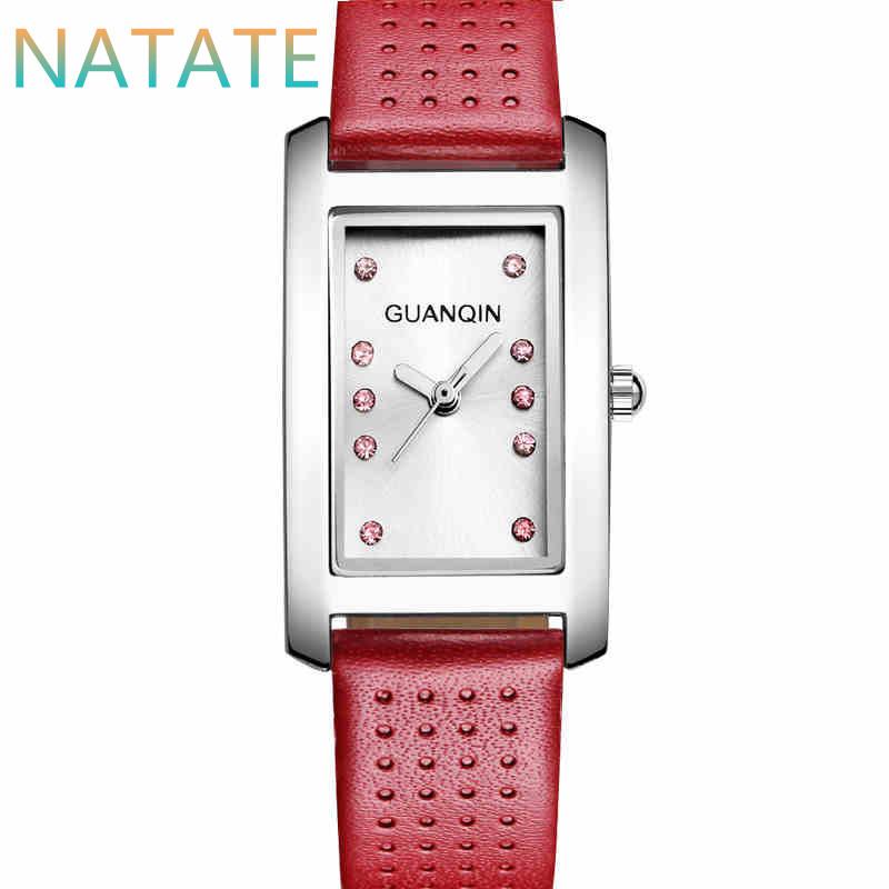 NATATE Fashion Women GUANQIN Brand Watch Fashion Casual Leather Strap Female Watch Square Quartz  Waterproof Watch 6040<br><br>Aliexpress