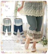 new Japanese cotton lace ruffle hippie boho mori girl patchwork pants