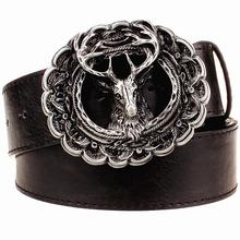 Buy New leather belt metal buckle fashion reindeer belts trend punk rock Elk style trend decorative belt men gift women for $9.82 in AliExpress store