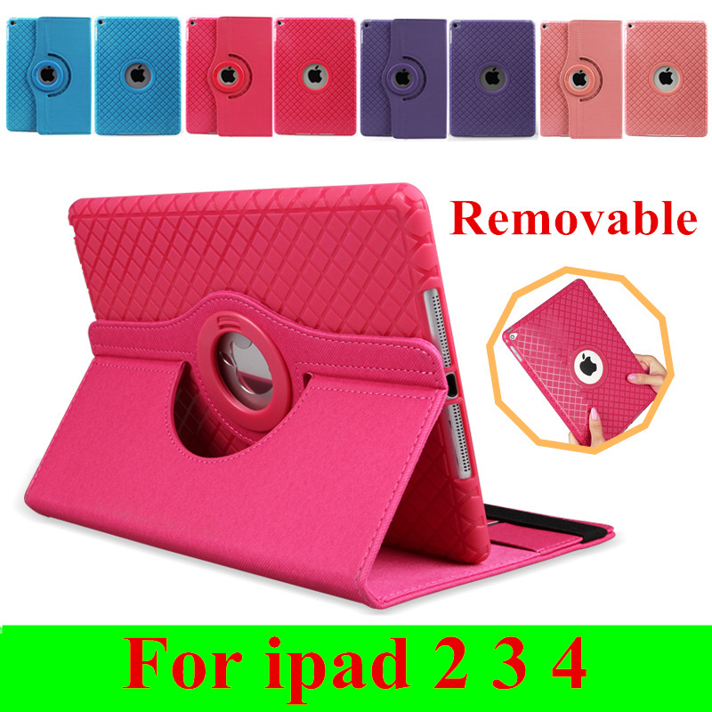 Fashion 360 Rotating Flexible Ultra Thin Flip Leather Cases For Apple iPad 2 3 4 Smart Stand Auto Sleep Cover For iPad 4 3(China (Mainland))