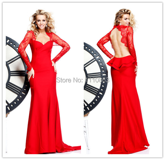 Fashion Style Elegant Floor-length Lace Long Sleeve Evening Dress 2015 Formal Evening Gown Backless Cheap Party Dress(China (Mainland))