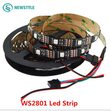 Fantastic 5M WS2801 LED strip,black PCB Colorful DC 5V led lights with many kinds of emitting effect for decoration(China (Mainland))
