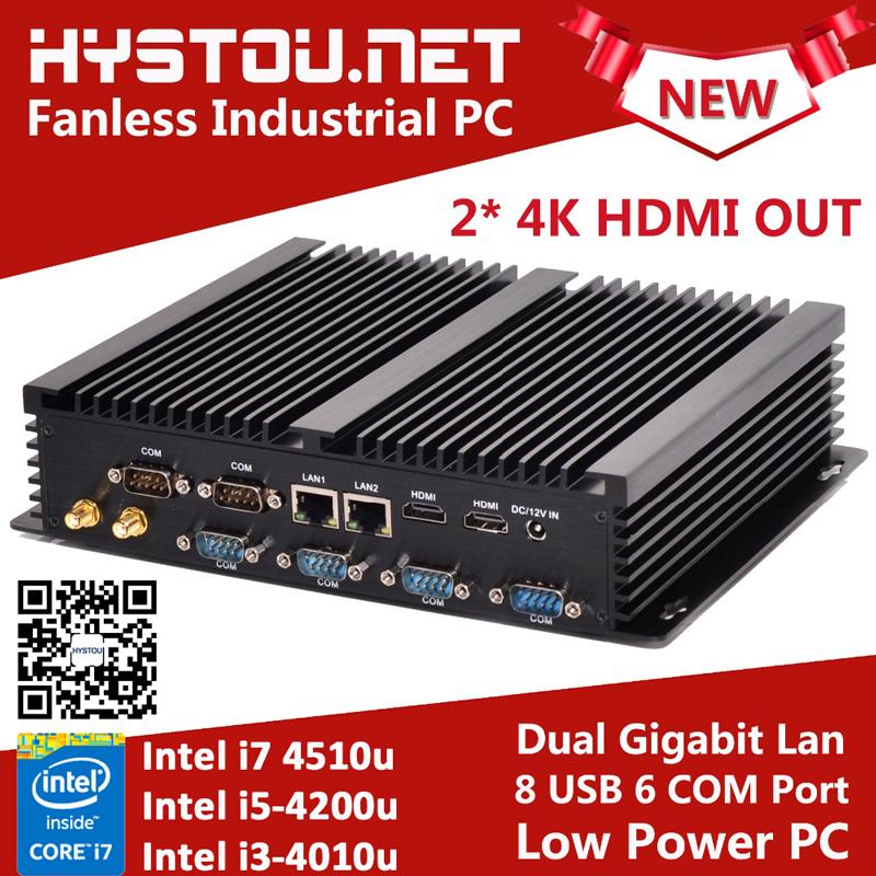 Fanless Industrial Mini PC i7 4510U Barebone Mini PC i7 Windows 10 ITX Computer 8GB RAM 256G SSD 2 LAN 2 HDMI 6 COM 8 USB Nettop(China (Mainland))