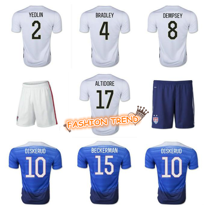 2015-16 USA Soccer Jerseys 1 Howard 2 Yedlin 4 Bradley 7 Beasley 8 Dempsey 13 Green Home&Away Short Sleeve Top Thai Quality(China (Mainland))