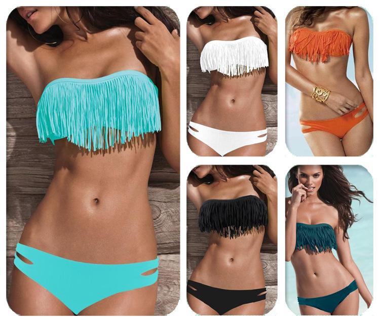 2015 Fashion Brand Tassel Bra Woman Sexy Bikini Set PAD Swimsuits Sport Fringe Top Swimwear Beachwear(China (Mainland))