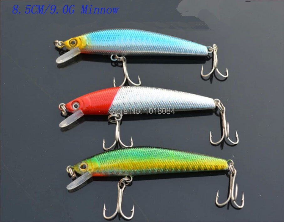 Wholesale!  Free shipping 100pieces/lot 8.5CM/9.0G Minnow Fishing lures Multi-colors Plastic hard baits 4-16<br><br>Aliexpress